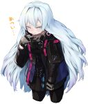 1girl absurdres black_jacket blue_eyes commentary_request cosplay cowboy_shot girls_frontline gloves highres hot jacket long_hair mari0ball mdr_(girls_frontline) mdr_(girls_frontline)_(cosplay) ribeyrolles_1918_(girls_frontline) silver_hair solo sweat very_long_hair white_background
