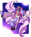 1boy airplane_wing arm_cannon artist_name cape crown decepticon floating highres kyarara_renan licking_lips looking_at_viewer mecha no_humans red_eyes solo space starscream sun thrusters tongue tongue_out transformers weapon