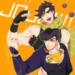 2boys abs aqua_eyes arm_up artist_name battle_tendency black_gloves black_hair brooch brown_hair chromatic_aberration clacker collarbone crazy_diamond diamond_wa_kudakenai dotted_background earrings eyebrows_visible_through_hair fingerless_gloves flexing gakuran gloves grin head_tilt higashikata_jousuke highres jewelry jojo_no_kimyou_na_bouken joseph_joestar_(young) kogatarou long_sleeves male_focus multiple_boys muscle open_mouth orange_background peace_symbol pointing pompadour pose scarf school_uniform short_hair signature simple_background sleeveless smile stand_(jojo) thick_eyebrows time_paradox