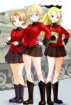 3girls assam_(girls_und_panzer) bangs black_bow black_footwear black_ribbon black_skirt blonde_hair blue_eyes blush boots bow braid breasts churchill_(tank) closed_mouth cup darjeeling_(girls_und_panzer) emblem epaulettes eyebrows_visible_through_hair full_body girls_und_panzer ground_vehicle hair_bow hair_pulled_back hair_ribbon hand_on_hip highres holding holding_cup holding_saucer holding_tablet_pc insignia jacket knee_boots long_hair long_sleeves looking_at_viewer military military_jacket military_uniform military_vehicle miniskirt model_tank motor_vehicle multiple_girls open_mouth orange_hair orange_pekoe_(girls_und_panzer) parted_bangs pleated_skirt red_jacket ribbon sasaki_akira_(ugc) saucer shadow short_hair side-by-side skirt smile st._gloriana's_(emblem) st._gloriana's_military_uniform standing tablet_pc tank teacup thighs tied_hair twin_braids uniform
