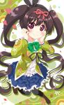 1girl anime_coloring bangs black_bow black_hairband black_legwear black_ribbon blue_skirt blush boots bow bow_hairband bowtie brown_footwear brown_hair circle commentary_request diamond_(shape) eyebrows_visible_through_hair food_print food_themed_background frilled_shirt frilled_skirt frills full_body green_bow green_jacket hair_ribbon hairband hands_on_own_cheeks hands_on_own_face hat heart heart_in_eye highres jacket long_hair long_sleeves looking_at_viewer midori_hemo ochikobore_fruit_tart pantyhose print_jacket red_ribbon ribbon sailor_collar shiny shiny_hair shirt signature skirt smile solo symbol_in_eye twintails usagi_koushaku very_long_hair violet_eyes white_headwear white_sailor_collar white_shirt