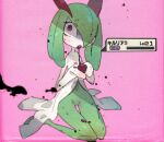 1girl blush character_name constricted_pupils cupping_hands drooling full_body gen_3_pokemon green_hair hair_over_one_eye half-closed_eye hands_together hands_up health_bar heart holding jpeg_artifacts kirlia kuroi_moyamoya looking_at_viewer navel no_humans open_mouth pink_background poison pokemon pokemon_(creature) shiny shiny_hair shiny_skin simple_background sitting solo sweat tongue tongue_out translated uneven_eyes venus_symbol wariza