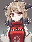 1girl animal_ears arknights bandaid bandaid_on_arm brown_background brown_hair cutter_(arknights) dress fox_ears hair_ornament hairclip haritama_(ruri-hari) highres jewelry looking_at_viewer making-of_available medium_hair multicolored_hair off_shoulder pendant red_dress red_eyes signature simple_background solo suspenders tied_hair upper_body