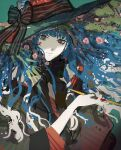 1girl black_bow black_neckwear blue_hair bow bowtie closed_mouth colored_skin floating_hair green_background hat hat_bow highres holding holding_pipe kiseru looking_at_viewer original pipe sankomichi simple_background solo upper_body white_skin witch witch_hat yellow_eyes