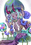1girl :d aqua_hair armpits boshi_(a-ieba) bracelet broken_egg colored_skin eyeliner fang fate/grand_order fate_(series) flat_chest highres hikimayu horns ibuki_douji_(fate) jewelry long_hair looking_at_viewer makeup navel open_mouth purple_skin red_eyes smile snake_tail solo tail