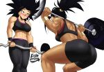 2girls abs absurdres ass barbell basketball bike_shorts black_eyes black_hair blush borrowed_design breasts caulifla commentary constricted_pupils dark_skin dark_skinned_female dragon_ball dragon_ball_super echo_saber english_commentary exercise gym gym_shorts gym_uniform highres kale_(dragon_ball) looking_at_another multiple_girls muscle muscular_female nose_blush ponytail saiyan shorts spiky_hair sports_bra squatting sweatband weightlifting weights yuri