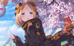 1girl abigail_williams_(fate/grand_order) aora balloon bandaid bandaid_on_forehead bangs black_bow black_jacket blonde_hair blue_eyes blue_sky blush bow breasts cherry_blossoms crossed_bandaids fate/grand_order fate_(series) forehead hair_bow hair_bun heroic_spirit_traveling_outfit high_collar holding holding_balloon jacket long_hair long_sleeves looking_at_viewer multiple_bows open_mouth orange_belt orange_bow parted_bangs polka_dot polka_dot_bow sky sleeves_past_wrists small_breasts tentacles tree