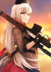 1girl absurdres assault_rifle belt black_gloves black_headwear brown_jacket closed_mouth dragunov_svd eyebrows_visible_through_hair fingerless_gloves girls_frontline gloves grey_eyes gun hair_ribbon hat highres holding holding_weapon jacket jewelry long_hair looking_at_viewer military military_hat military_uniform muteppona_hito over_shoulder profile ribbon rifle ring silver_hair smile sniper_rifle solo standing svd_(girls_frontline) uniform weapon weapon_case weapon_over_shoulder