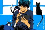 1boy amamiya_ren black_hair blue_background blue_hair book casual cat cat_paw closed_eyes glasses male_focus morgana_(persona_5) multiple_cats pencil persona persona_5 saitou_rokuro solo tail tail_wagging wavy_hair writing
