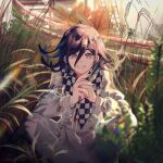 1boy absurdres blurry blurry_background blurry_foreground checkered checkered_scarf chromatic_aberration danganronpa depth_of_field eyebrows_visible_through_hair grass hair_between_eyes hands_together highres lemontea long_sleeves male_focus new_danganronpa_v3 ouma_kokichi purple_hair scarf shirt short_hair smile solo squatting tree violet_eyes