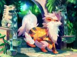 arcanine chocochimbu commentary commission creature english_commentary fangs fountain full_body gen_1_pokemon grass no_humans plant pokemon pokemon_(creature) solo standing_on_three_legs third-party_source water