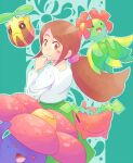 1girl :d aroma_lady_(pokemon) bellossom blush brown_eyes brown_hair closed_mouth commentary_request creature gen_1_pokemon gen_2_pokemon green_background long_hair long_sleeves looking_at_viewer open_mouth pokemon pokemon_(creature) ponytail sidelocks simple_background smile sunkern tied_hair toge_nbo vileplume