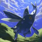 black_eyes blue_sky bug claws clouds cloudy_sky commentary creature day english_commentary flying full_body gen_2_pokemon heracross no_humans outdoors pinkgermy pokemon pokemon_(creature) signature sky solo