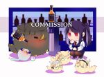 1girl 5others animal_ears animalization bar chibi commission crossover cup drinking_glass drunk eyepatch furball g36_(girls_frontline) girls_frontline hk416_(girls_frontline) jack_daniel's jill_stingray m16a1_(girls_frontline) maid_headdress monocle multiple_others purple_hair sweatdrop tail va-11_hall-a yuutama2804