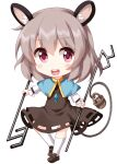 1girl animal_ears bangs basket blue_capelet capelet chibi dowsing_rod dress eyebrows_visible_through_hair full_body grey_dress grey_footwear grey_hair hair_between_eyes highres holding holding_rod jewelry long_sleeves looking_at_viewer medium_hair mouse mouse_ears mouse_tail nazrin open_mouth pendant pink_eyes ruu_(tksymkw) simple_background smile solo standing tail teeth touhou white_background white_legwear