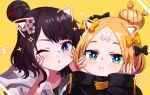 2girls :i abigail_williams_(fate/grand_order) bangs black_bow black_hair black_jacket blonde_hair blue_eyes bow brown_bow closed_mouth commentary_request crossed_bandaids drawn_ears eyebrows_behind_hair face_filter fate/grand_order fate_(series) grey_jacket hair_bow hair_bun hair_ornament hands_on_own_face hands_up heart heroic_spirit_traveling_outfit highres hood hood_down hooded_jacket jacket katsushika_hokusai_(fate/grand_order) long_sleeves looking_at_viewer multiple_girls one_eye_closed parted_bangs parted_lips polka_dot polka_dot_bow simple_background sleeves_past_wrists sparkle tyureu yellow_background