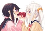 2girls absurdres ahoge apple bangs black_hair black_sailor_collar blush brown_sweater closed_mouth commentary_request eating eye_contact eyebrows_visible_through_hair food fruit hair_between_eyes hair_ornament hair_scrunchie hands_together highres holding holding_food holding_fruit long_hair long_sleeves looking_at_another low_ponytail multiple_girls nail_polish open_mouth orange_scrunchie original pink_nails pink_scarf pink_sweater ponytail profile red_apple sailor_collar scarf school_uniform scrunchie serafuku shared_food side_ponytail silver_hair simple_background sleeves_past_wrists sweat sweater upper_body upper_teeth violet_eyes white_background zero_(miraichizu)