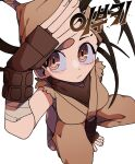 1girl :/ arm_support arm_up bandaged_feet bandana between_legs blush breasts brown_eyes brown_gloves brown_hair closed_mouth clothing_cutout commentary ehfhfh_3712 english_commentary face fingerless_gloves from_above gloves hand_between_legs highres ibuki_(street_fighter) japanese_clothes korean_text long_hair looking_at_viewer looking_up medium_breasts ninja side_cutout simple_background solo squatting street_fighter thigh_cutout torn_clothes torn_sleeves translation_request white_background
