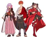1boy 2girls adapted_costume bangs black_hair blue_eyes blush_stickers boots closed_mouth dress emiya_shirou fate/grand_order fate/stay_night fate_(series) formalcraft full_body gloves hair_between_eyes hair_ribbon hakusai_(tiahszld) high_heels imaginary_around japanese_clothes kimono limited/zero_over long_sleeves looking_at_viewer matou_sakura multiple_girls obi open_clothes open_kimono open_mouth purple_hair red_kimono redhead ribbon sandals sash shoes short_kimono simple_background skirt smile thigh-highs thigh_boots tohsaka_rin violet_eyes white_background white_kimono wide_sleeves yellow_eyes