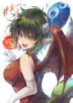 1girl :d bare_shoulders breasts breathing_fire commentary draco_centauros dragon_girl dragon_horns dragon_tail dragon_wings dress elbow_gloves eyebrows_visible_through_hair fang fire gao gloves green_hair highres horns large_breasts open_mouth pointy_ears puyo_(puyopuyo) puyopuyo red_dress short_hair skin_fang smile tail upper_body white_gloves wings yellow_eyes yue_(lov_n_n)