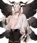 1boy angel_wings artist_name bangs bare_pecs black_choker black_pants black_wings character_request choker commentary commission copyright_request cowboy_shot earrings english_commentary eyebrows_visible_through_hair eyes_visible_through_hair feathered_wings feathers fingernails frilled_sleeves frills grin hair_ribbon highres horn_ornament horns jewelry jouvru long_fingernails long_hair long_sleeves looking_at_viewer male_focus multiple_wings nipples pants parted_bangs playing_with_own_hair puffy_long_sleeves puffy_sleeves red_ribbon ribbon see-through sharp_fingernails simple_background smile solo spread_wings symbol_commentary waist_bow watermark white_background white_hair wings yellow_eyes