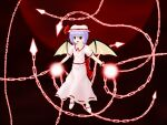 1girl bat_wings chain commentary_request dress hat light mob_cap moon night night_sky pink_dress puffy_short_sleeves puffy_sleeves purple_hair pzsumire red_moon remilia_scarlet short_sleeves sky solo spell_card touhou wings