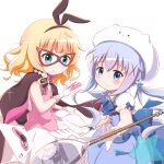 2girls ace_of_hearts animal_ears bangs between_fingers black_bow black_hairband blonde_hair blue_bow blue_dress blue_eyes blue_hair blush bow card character_hat closed_mouth collared_shirt cosplay dress eyebrows_visible_through_hair fake_animal_ears gloves gochuumon_wa_usagi_desu_ka? goth_risuto green_eyes hair_between_eyes hair_ornament hairband heart highres holding holding_card kafuu_chino kirima_sharo long_hair looking_at_viewer magical_girl mask multiple_girls oversized_object phantom_thief_lapin phantom_thief_lapin_(cosplay) pink_vest playing_card pleated_dress pleated_skirt puffy_short_sleeves puffy_sleeves rabbit_ears shirt short_sleeves sidelocks skirt sleeveless sleeveless_dress smile spoon star_(symbol) striped striped_bow tippy_(gochiusa) twintails very_long_hair vest white_gloves white_headwear white_shirt white_skirt x_hair_ornament