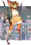 1girl :d \m/ android animal_ears arm_blade blue_eyes blue_nails breasts bright_pupils brown_hair claws colored_skin cyborg earrings extra_arms fang fur highres jewelry kuroi-chan_(kuroi_moyamoya) kuroi_moyamoya large_breasts long_hair looking_at_viewer multicolored multicolored_fur multicolored_skin nightgown open_mouth orange_furry orange_skin pigeon-toed robot sandals short_hair skin_fang smile standing toenail_polish toenails weapon white_pupils