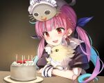 1girl animal animal_on_head birthday_cake blue_hair bow braid cake candle cat cat_on_head colored_inner_hair commentary_request food french_braid fruit hair_bow happy_birthday holding holding_animal holding_cat hololive indoors komugi_(minato_aqua) looking_ahead minato_aqua multicolored_hair neko_(minato_aqua) night on_head open_mouth pink_hair red_eyes sitting smile solo strawberry streaked_hair summer_tail720 table twintails two-tone_hair wooden_table wrist_cuffs
