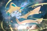:d commentary_request from_below gen_3_pokemon grass green_eyes jirachi jpeg_artifacts looking_at_viewer mythical_pokemon night no_humans open_mouth otsumami_(bu-bu-heaven) outdoors pokemon pokemon_(creature) rock smile solo star_(sky) star_(symbol)