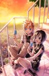 1boy 1girl black_hair blonde_hair blue_eyes boots city food highres ice_cream jacket kingdom_hearts kingdom_hearts_iii maimai_melc mountainous_horizon open_mouth popsicle roxas sitting skirt sleeveless spiky_hair stairs sunset tree xion_(kingdom_hearts)