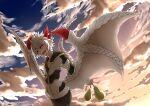 1boy =_= black_pants blue_sky closed_eyes clouds coat demon_boy demon_horns demon_tail food fruit gospel_(mazohaha) horns jacket juugoya_(zyugoya) musuko_ga_kawaikute_shikatanai_mazoku_no_hahaoya older open_mouth pants pear prototype red_horns roots sky sunrise tail white_hair white_tail white_wings wings zipper zipper_pull_tab