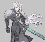 1boy akiyoku armor black_gloves black_pants diamond_sword english_commentary final_fantasy final_fantasy_vii gloves grey_background highres holding holding_sword holding_weapon long_hair male_focus minecraft pants sephiroth shoulder_armor silver_hair simple_background smile solo super_smash_bros. sword weapon