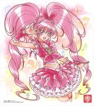 1girl :d armpits bangs blue_eyes choker collarbone crop_top cropped_legs cure_melody eyebrows_visible_through_hair floating_hair hair_between_eyes highres layered_skirt long_hair looking_at_viewer miniskirt open_mouth pink_choker pink_hair pink_skirt precure shiny shiny_hair skirt smile solo striped striped_legwear suite_precure thigh-highs twintails two-tone_skirt v_over_eye very_long_hair white_background white_skirt zettai_ryouiki