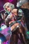 2girls bare_shoulders breasts ciri commentary cyberpunk_2077 dutch_angle freckles green_eyes light_smile lipstick long_hair looking_at_viewer makeup medium_breasts midriff multiple_girls navel neoartcore sideboob the_witcher_3 tied_hair white_hair