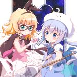 2girls ace_of_hearts animal_ears bangs between_fingers black_bow black_hairband blonde_hair blue_bow blue_dress blue_eyes blue_hair blush bow card character_hat closed_mouth collared_shirt commentary_request cosplay dress eyebrows_visible_through_hair fake_animal_ears gloves gochuumon_wa_usagi_desu_ka? goth_risuto green_eyes hair_between_eyes hair_ornament hairband heart highres holding holding_card kafuu_chino kirima_sharo long_hair looking_at_viewer magical_girl mask multiple_girls oversized_object phantom_thief_lapin phantom_thief_lapin_(cosplay) pink_vest playing_card pleated_dress pleated_skirt puffy_short_sleeves puffy_sleeves rabbit_ears shirt short_sleeves sidelocks skirt sleeveless sleeveless_dress smile spoon star_(symbol) striped striped_bow tippy_(gochiusa) twintails very_long_hair vest white_gloves white_headwear white_shirt white_skirt x_hair_ornament