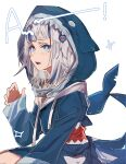 1girl a absurdres animal_costume animal_hood bangs blue_dress blue_eyes blue_hair blue_hoodie blue_jacket blunt_bangs catchphrase dress fish_tail gawr_gura hair_ornament hand_up highres hololive hololive_english hood hood_up hoodie jacket light_blush long_sleeves looking_at_viewer looking_to_the_side medium_hair multicolored_hair open_mouth shark_costume shark_girl shark_hair_ornament shark_hood shark_print shark_tail sharp_teeth sitting solo sparkle streaked_hair tail takao_(88499191) teeth upper_body virtual_youtuber white_background white_hair