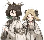 2girls ahoge arknights armband blonde_hair brown_eyes brown_hair buttons coat cup demon_horns dot_mouth eyebrows_visible_through_hair feather_hair freenote_mr glasses half-closed_eyes highres holding holding_cup horns id_card ifrit_(arknights) looking_at_another looking_at_viewer low_twintails mug multiple_girls orange_eyes rhine_lab_logo semi-rimless_eyewear shirt short_hair short_twintails silence_(arknights) simple_background standing striped striped_shirt tied_hair turtleneck twintails upper_body white_background white_coat