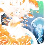 1girl air_bubble blue_background blue_eyes bubble closed_mouth colored_skin commentary_request dress fish floating_hair from_side halphelt jellyfish koi long_dress long_hair looking_at_viewer looking_to_the_side orange_dress original solo strapless strapless_dress underwater white_hair white_skin