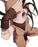 1girl :/ arm_support arm_up bandaged_feet bandana between_legs blush breasts brown_eyes brown_gloves brown_hair closed_mouth clothing_cutout commentary ehfhfh_3712 english_commentary face fingerless_gloves from_above gloves hand_between_legs highres ibuki_(street_fighter) japanese_clothes long_hair looking_at_viewer looking_up medium_breasts ninja side_cutout simple_background solo squatting street_fighter thigh_cutout torn_clothes torn_sleeves white_background