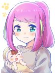 1girl :d ^_^ absurdres aqua_eyes baby brown_hair closed_eyes eyebrows_visible_through_hair green_hair hashimoto_nyaa highres holding_baby mother_and_child multicolored_hair nyaa_(nnekoron) open_mouth osomatsu-san pink_hair ponytail smile streaked_hair two-tone_hair upper_body white_background