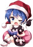 1girl ;o bangs black_dress blue_eyes blue_hair book boots chibi doremy_sweet dress eyebrows_visible_through_hair full_body hat highres holding holding_book looking_at_viewer multicolored multicolored_clothes multicolored_dress nightcap one_eye_closed open_book open_mouth pom_pom_(clothes) red_headwear ruu_(tksymkw) short_hair simple_background sitting solo tail tapir_tail touhou two-tone_dress white_background white_dress white_footwear yawning