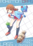 1girl :d breasts brown_eyes brown_hair character_name collared_shirt commentary_request copyright_name creature gen_1_pokemon gen_2_pokemon gen_3_pokemon grid_background holding holding_poke_ball lass_(pokemon) looking_at_viewer marill miniskirt oddish open_mouth poke_ball poke_ball_(basic) pokemon pokemon_(creature) pokemon_(game) pokemon_oras shirt short_hair skirt small_breasts smile standing tied_hair toge_nbo white_shirt zigzagoon