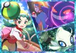 1boy 1girl absurdres bangs blue_headband blush celebi clouds commentary_request cropped_jacket day eyelashes friend_ball gen_1_pokemon gen_2_pokemon gengar green_eyes green_hair headband highres holding holding_poke_ball ilex_forest jacket kris_(pokemon) long_hair long_sleeves morty_(pokemon) mythical_pokemon open_mouth outdoors parted_bangs pink_bag poke_ball poke_ball_(basic) pokemon pokemon_(creature) pokemon_(game) pokemon_gsc pon_yui shiny shiny_hair sky throwing tongue twintails white_jacket
