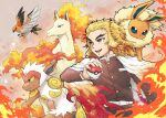 1girl :d absurdres belt belt_buckle bird blonde_hair brown_jacket brown_pants buckle cape character_request commentary_request fire flareon gen_1_pokemon gen_4_pokemon gen_6_pokemon gradient_hair highres holding holding_poke_ball infernape jacket kimetsu_no_yaiba long_hair long_sleeves monkey mono_land multicolored_hair open_mouth pants poke_ball poke_ball_(basic) pokemon pokemon_(creature) rapidash red_eyes redhead rengoku_kyoujurou smile talonflame white_belt white_cape