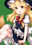 1girl apron bangs black_headwear black_skirt black_vest blonde_hair bow bowtie braid broom broom_riding buttons collared_shirt eyebrows_visible_through_hair feet_out_of_frame frilled_hat frilled_skirt frills green_background hair_between_eyes hair_bow hat highres kirisame_marisa long_hair looking_at_viewer open_mouth petticoat puffy_short_sleeves puffy_sleeves red_bow red_neckwear ruu_(tksymkw) shirt short_sleeves side_braid simple_background single_braid sitting skirt smile solo touhou vest waist_apron white_apron white_shirt witch_hat yellow_eyes
