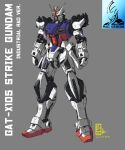 character_name clenched_hands dated grey_background gundam gundam_seed highres mecha no_humans pravin_rao_santheran redesign science_fiction solo strike_gundam v-fin yellow_eyes