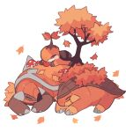 alternate_color autumn_leaves charamells closed_eyes commentary english_commentary gen_4_pokemon grotle highres lying mushroom no_humans on_stomach pokemon pokemon_(creature) sketch sleeping spikes torterra tree turtwig white_background