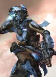 1girl alternator armor breasts explosive gloves glowing grenade gun helmet highres holding holding_gun holding_weapon kotone_a looking_ahead pilot_(titanfall_2) science_fiction small_breasts smoke solo submachine_gun titanfall_(series) titanfall_2 trigger_discipline visor weapon wiping
