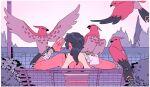 1girl bench bird black_hair bush choo commentary creature english_commentary gen_6_pokemon original outdoors pokemon pokemon_(creature) ponytail sweat talonflame